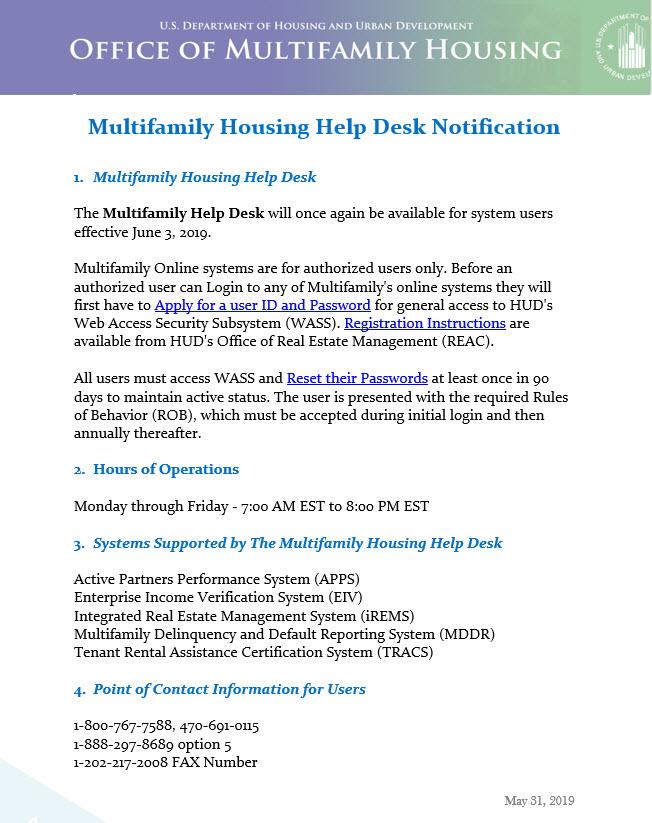 HUD Multifamily Housing Help Desk is Available | E3 Housing